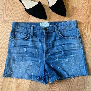 Current/Elliott Bicycle Distressed Jean Shorts C9